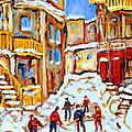 Hockey Art Montreal City Streets Boys Playing Hockey by Carole Spandau