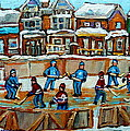 Hockey Rink Montreal Street Scene by Carole Spandau