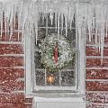 Holiday Wreath In Window With Icicles During Blizzard Of 2005 On by Matt Suess