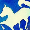 Horse In Blue And White by Janel Bragg