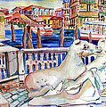 Horses On The Grand Canal Of Venice by Mindy Newman