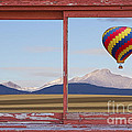 Hot Air Balloon And Longs Peak Red Rustic Picture Window View by James BO  Insogna