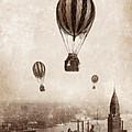 Hot Air Balloons Over 1949 New York City by Jill Battaglia