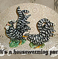 Housewarming Invitation - Black And White Chickens Figurines by Mother Nature