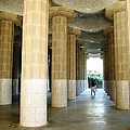 Huge Tall Columns Antoni Gaudi Guell Park Barcelona Spain by John Shiron