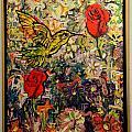 Hummingbird And Roses by John Thompson