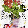 Hydrangea In A Pot Watercolor by Jill Balsam