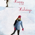 Ice Skaters Holiday Card by Beverly Brown