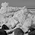 Icy Shoreline In Black And White by Janice Adomeit