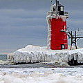 Icy South Haven Mi Lighthouse by Jack Schultz