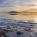 Icy Sunset On Utah Lake by Gary Whitton
