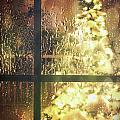 Icy Window With Holiday Tree Full Of Lights by Sandra Cunningham