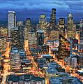 Illuminated Of Downtown Seattle by Stephen Kacirek
