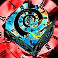 Infinity Time Cube Blue On Red by Steve Purnell
