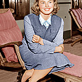 Ingrid Bergman Lounges On Ship Deck by Everett