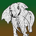 Inked Elephant In Green And Brown by Mary Mikawoz