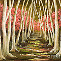Into The Woods-series With Gold Leaf By Vic Mastis by Vic  Mastis