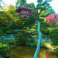 Japanese Tea Garden Temple by Jerry Grissom