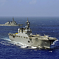 Jds Hyuga Sails In Formation With U.s by Stocktrek Images