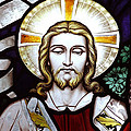 Jesus Close Up Stained Glass by Munir Alawi