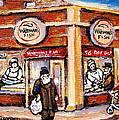 Jewish Montreal Vintage City Scenes Fish Market On Roy Street by Carole Spandau