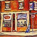 Jewish Montreal Vintage City Scenes Hutchison Street Butcher Shop  by Carole Spandau