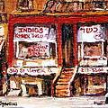 Jewish Montreal Vintage City Scenes Indigs Kosher Butcher by Carole Spandau