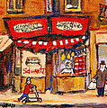 Jewish Montreal Vintage City Scenes Schwartzs Original Hebrew Deli by Carole Spandau