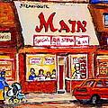 Jewish Montreal Vintage City Scenes The Main Rib Steaks On St. Lawrence Boulevard by Carole Spandau