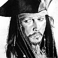 Johnny Depp As Captain Jack Sparrow In Pirates Of The Caribbean by Jim Fitzpatrick