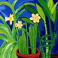 Jonquils And Bamboo Plant by Genevieve Esson