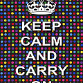 Keep Calm And Carry On Poster Print Blue Green Red Polka Dot Background by Keith Webber Jr