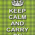 Keep Calm And Carry On Poster Print Green Plaid Background by Keith Webber Jr