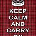 Keep Calm And Carry On Poster Print Red Black Stripes Background by Keith Webber Jr