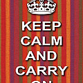 Keep Calm And Carry On Poster Print Red Purple Stripe Background by Keith Webber Jr