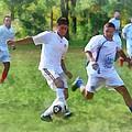Kicking Soccer Ball by Susan Savad