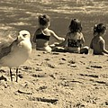Kids On The Beach - Sepia by Paulette Thomas
