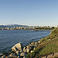 Kitsilano Beach And Vancouver Skyline by Michael S. Lewis