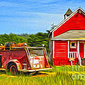 Klamath Old Fire Truck And Red School House by Gregory Dyer