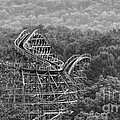 Knobels Wooden Roller Coaster Black And White by Paul Ward
