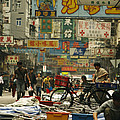 Kowloon Street With Workers Setting by Justin Guariglia