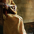 Lady In 16th Century Clothing With A Mandolin by Jill Battaglia