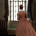 Lady In 19th Century Clothing Looking Out Window by Jill Battaglia