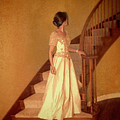 Lady In Lace Gown On Staircase by Jill Battaglia