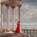 Lady In Red Gown By The Sea by Jill Battaglia