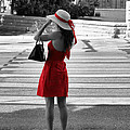 Lady In Red With Color Splash by Sarah Broadmeadow-Thomas