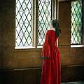 Lady In Tudor Gown Looking Out A Window by Jill Battaglia