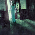 Lady In White Gown Walking Through A Mysterious Doorway by Jill Battaglia