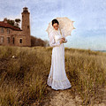 Lady In White With Parasol By The Sea by Jill Battaglia