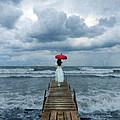 Lady On Dock In Storm by Jill Battaglia